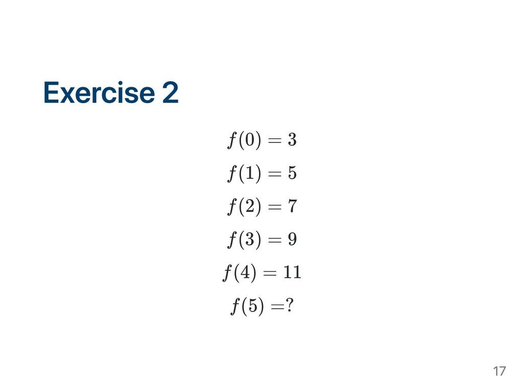 Exercise 2 f(0) = 3 f(1) = 5 f(2) = 7 f(3) = 9 ...