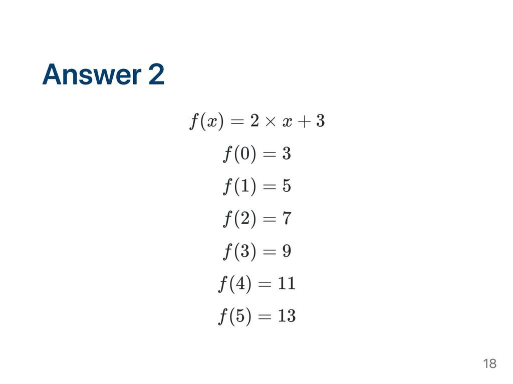Answer 2 f(x) = 2 × x + 3 f(0) = 3 f(1) = 5 f(2...