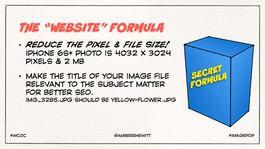 "THE ""WEBSITE"" FORMULA • REDUCE THE PIXEL & FILE..."