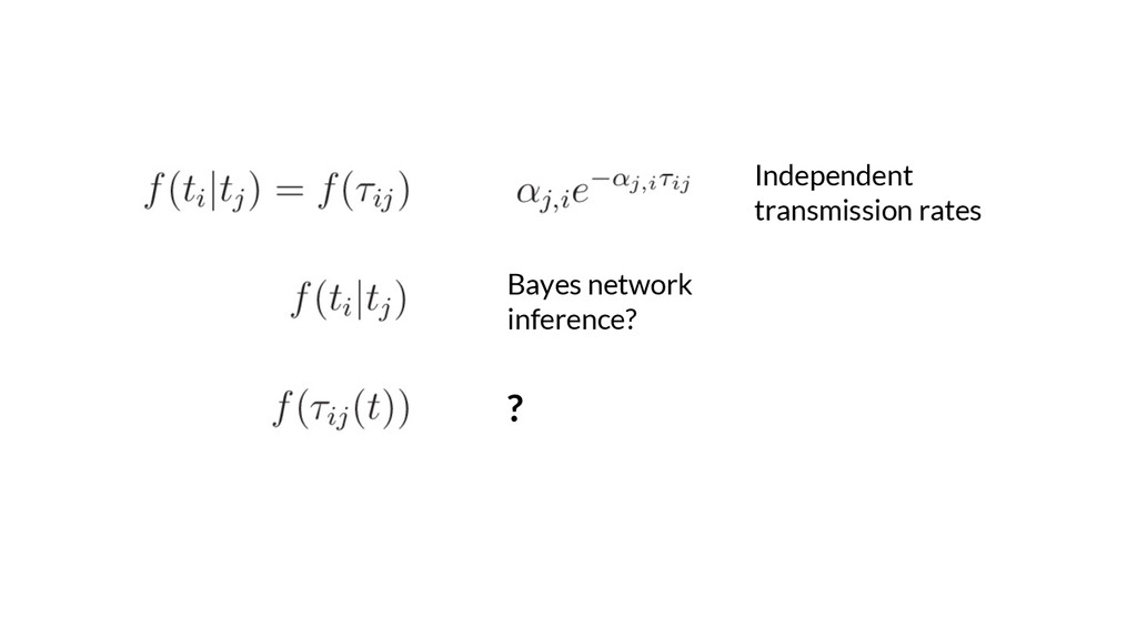 Independent transmission rates Bayes network in...