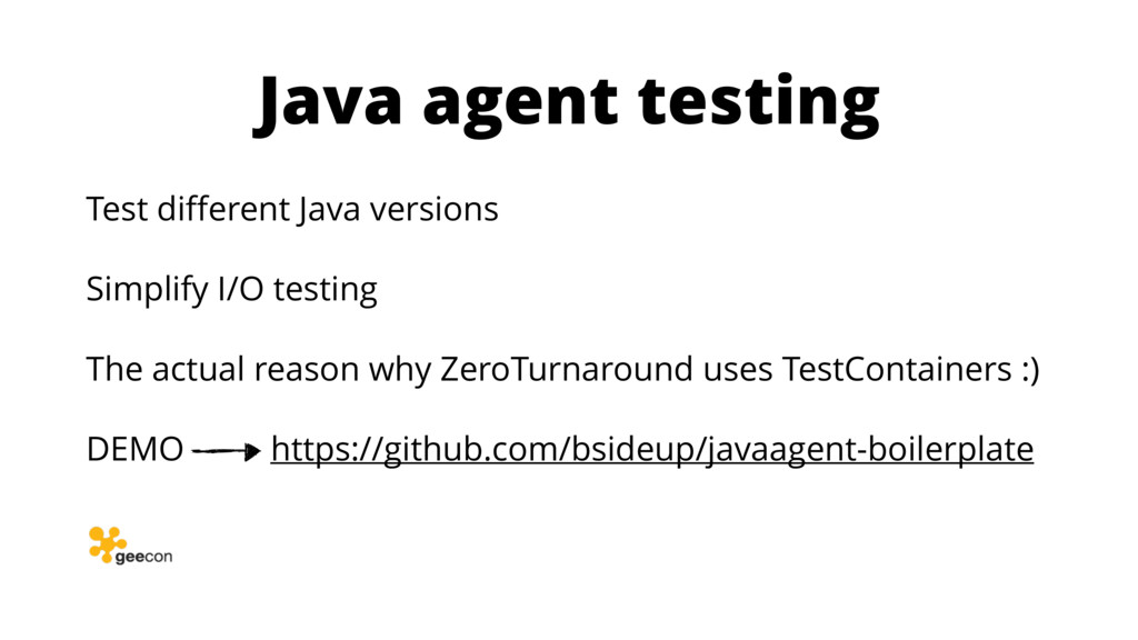 Java agent testing Test different Java versions ...