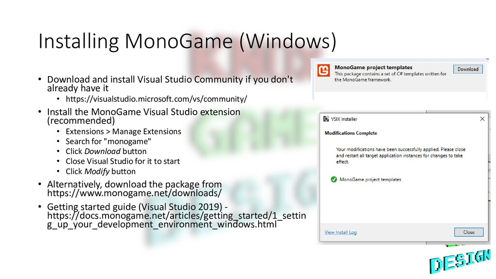 Installing MonoGame (Windows) • Download and in...