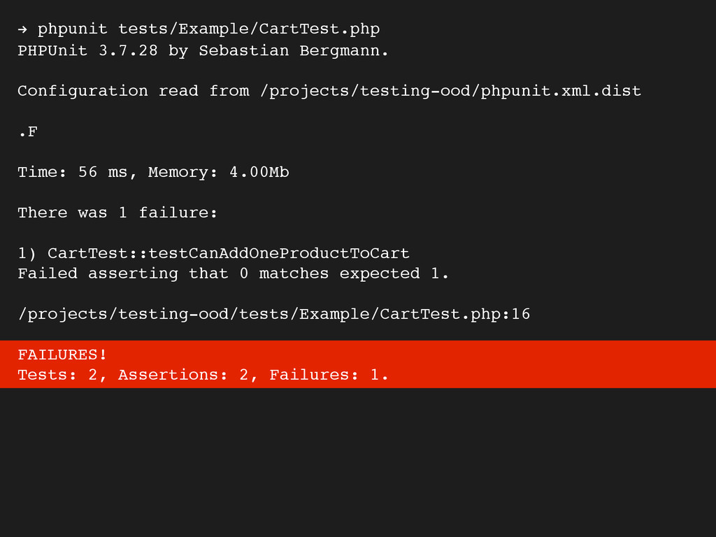 ! phpunit tests/Example/CartTest.php PHPUnit 3....