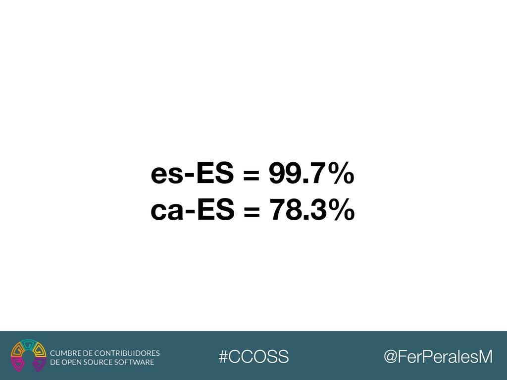 @FerPeralesM #CCOSS es-ES = 99.7% ca-ES = 78.3%