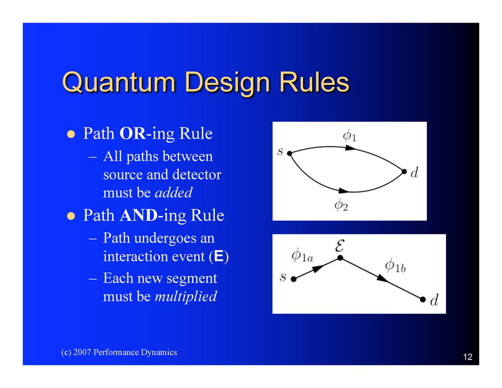 (c) 2007 Performance Dynamics 12 Quantum Design...