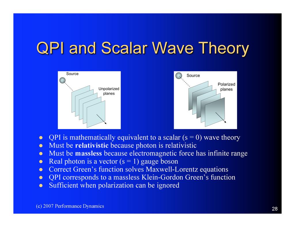 (c) 2007 Performance Dynamics 28 QPI and Scalar...