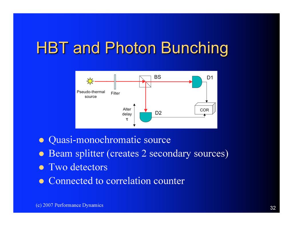 (c) 2007 Performance Dynamics 32 HBT and Photon...