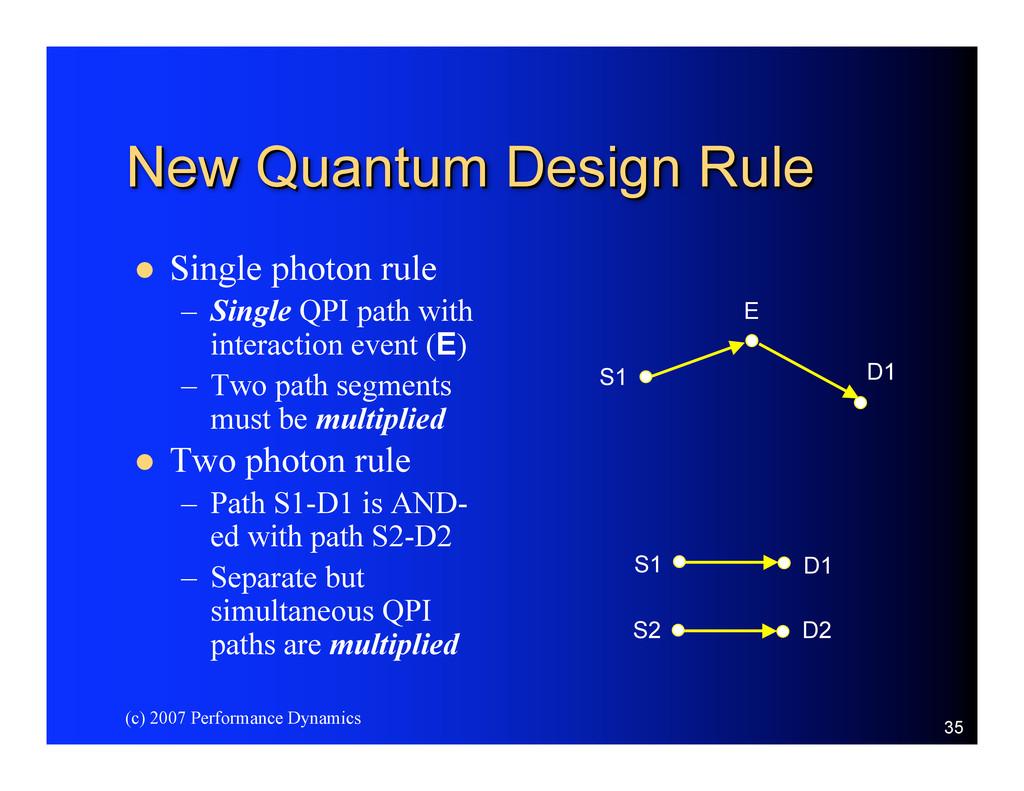 (c) 2007 Performance Dynamics 35 New Quantum De...