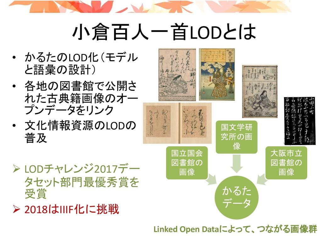 小倉百人一首LODとは • かるたのLOD化(モデル と語彙の設計) • 各地の図書館で公開さ...