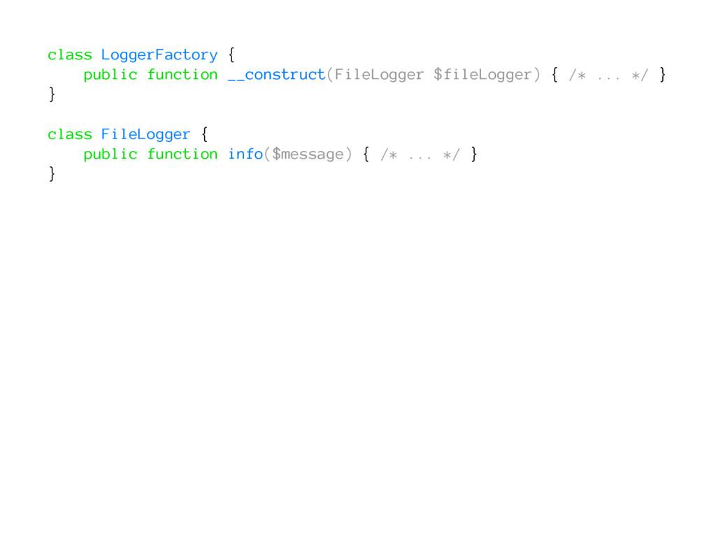 class LoggerFactory { public function __constru...