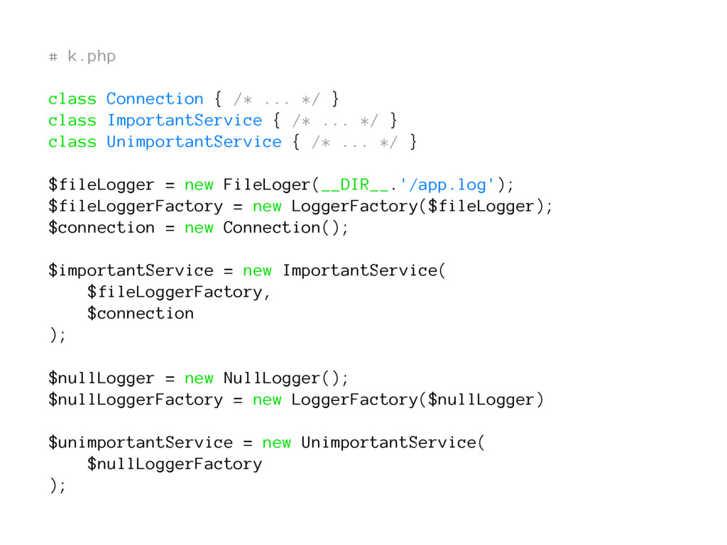 # k.php class Connection { /* ... */ } class Im...