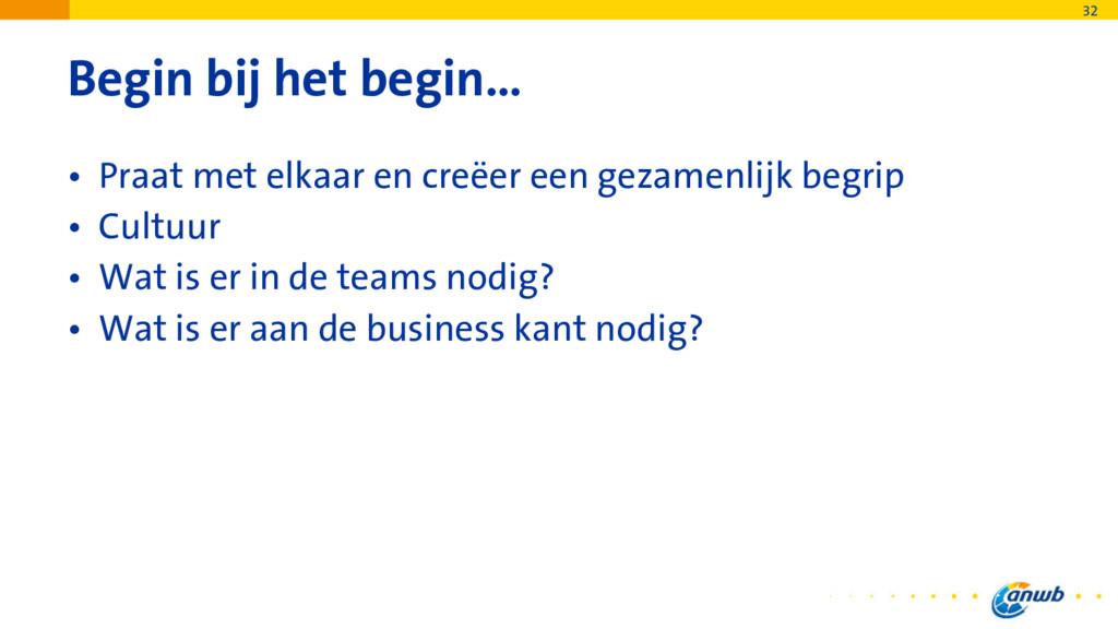 Begin bij het begin… • Praat met elkaar en creë...