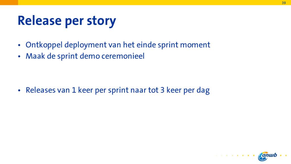 Release per story • Ontkoppel deployment van he...