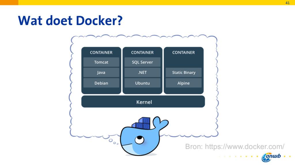 Wat doet Docker? 41 Bron: https://www.docker.co...