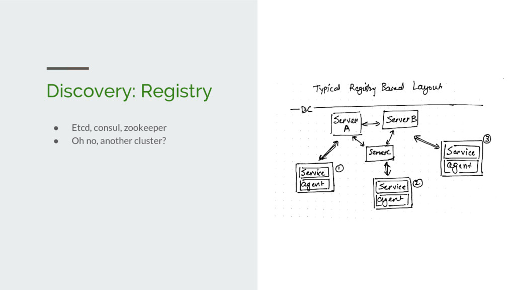 Discovery: Registry ● Etcd, consul, zookeeper ●...