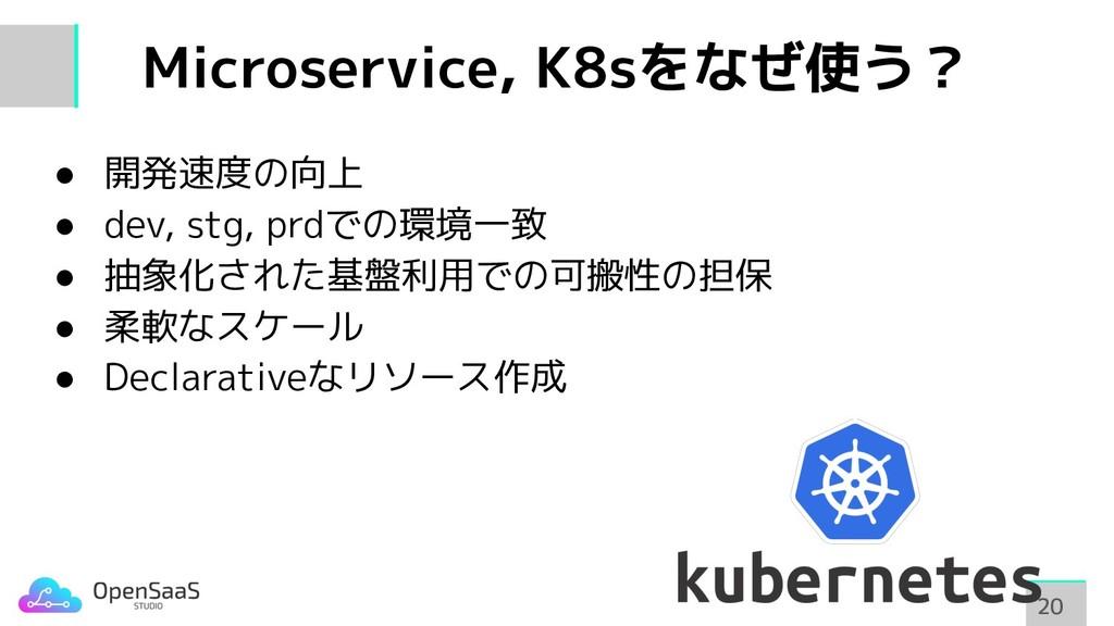 Microservice, K8sをなぜ使う? 20 20 ● 開発速度の向上 ● dev, ...