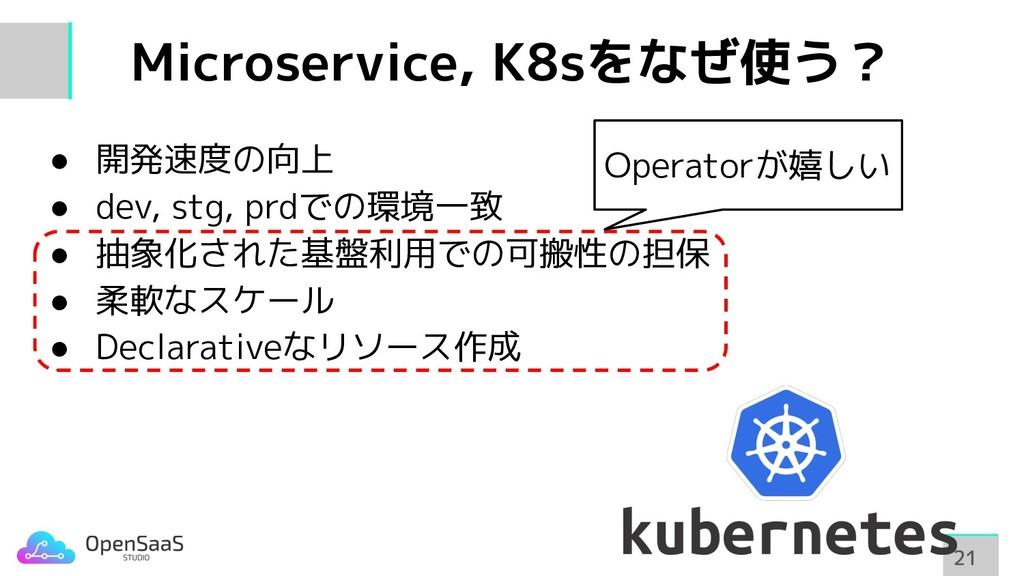 Microservice, K8sをなぜ使う? 21 21 ● 開発速度の向上 ● dev, ...