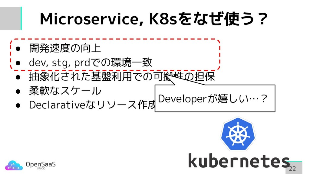 Microservice, K8sをなぜ使う? 22 22 ● 開発速度の向上 ● dev, ...