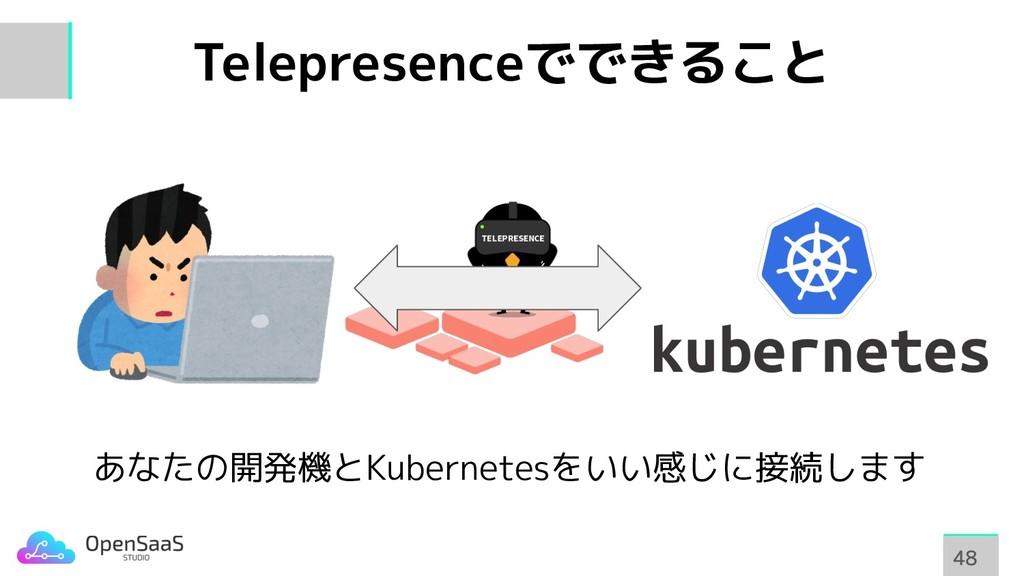 Telepresenceでできること 48 48 あなたの開発機とKubernetesをいい感...