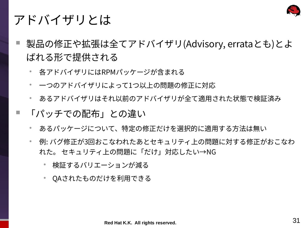 Red Hat K.K. All rights reserved. 31 アドバイザリとは ...