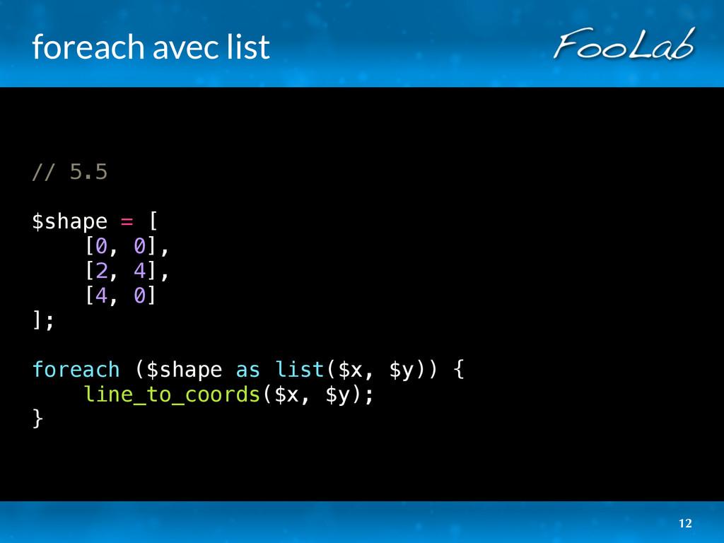 foreach avec list // 5.5 $shape = [ [0, 0], [2,...