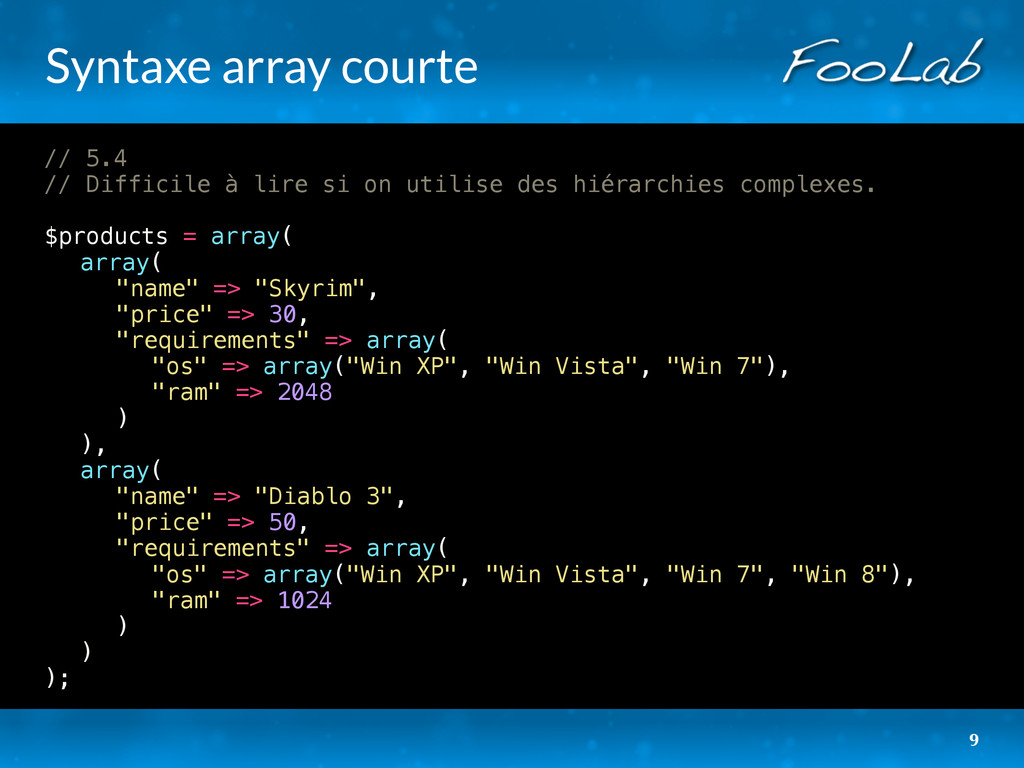 Syntaxe array courte // 5.4 // Difficile à lire...