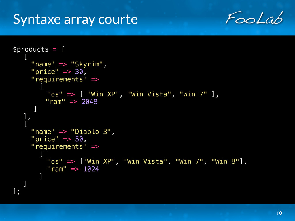 "Syntaxe array courte $products = [ ! [ ! ""name""..."