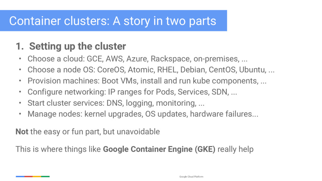 Google Cloud Platform 1. Setting up the cluster...