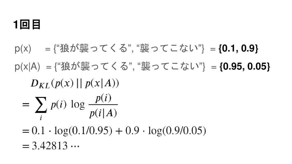 """1回目 p(x) = {""""狼が襲ってくる"""", """"襲ってこない""""} = {0.1, 0.9} p..."""