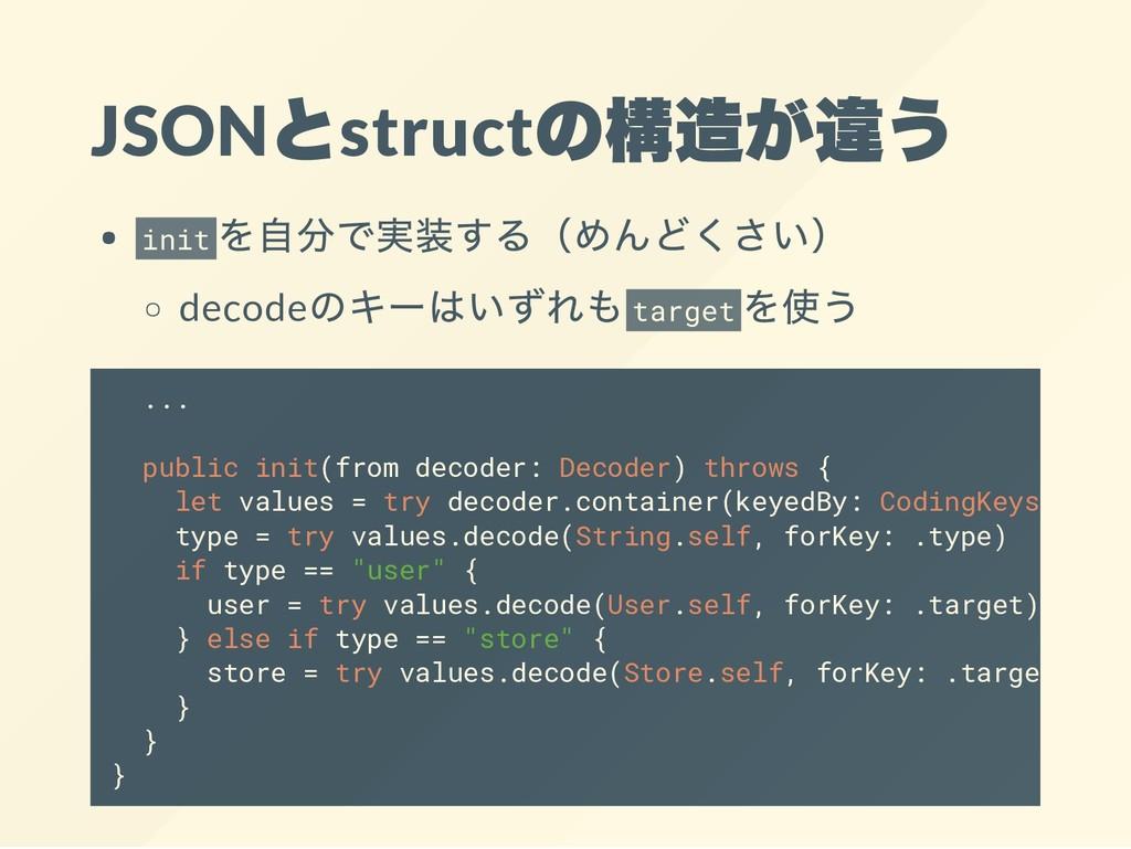 JSON とstruct の構造が違う init を自分で実装する(めんどくさい) decod...