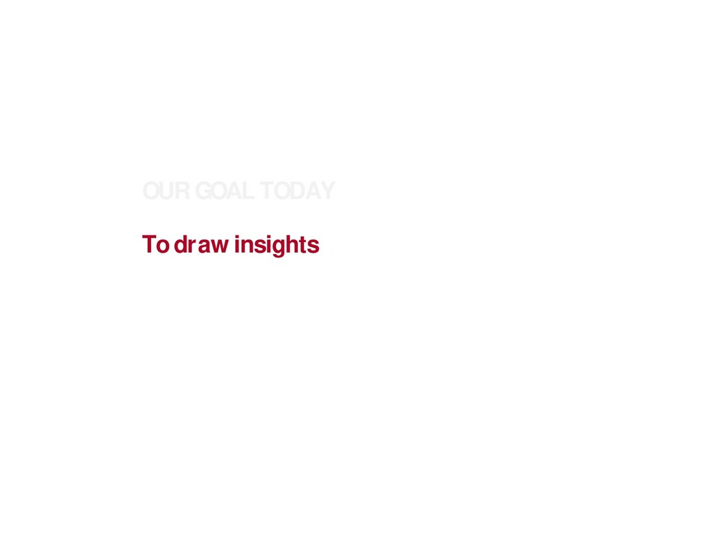 OUR GOAL TODAY To draw insights from different ...