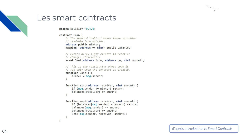 Les smart contracts 64 d'après Introduction to ...