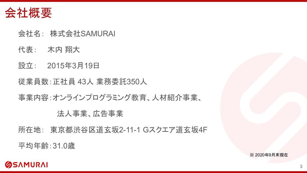 会社概要 会社名: 株式会社SAMURAI 代表:  木内 翔大 設立:  2015年3月19...