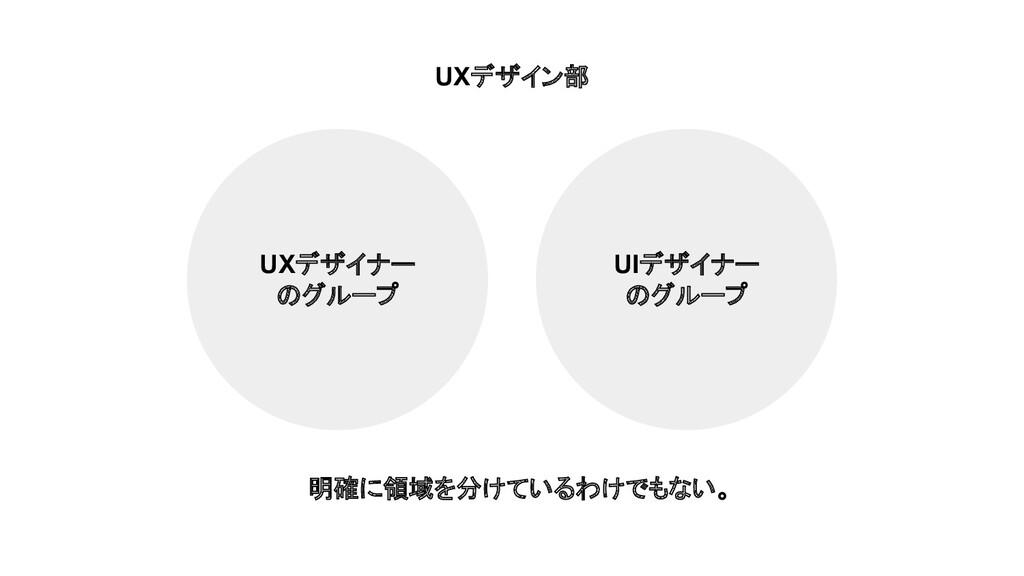 UIデザイナー のグループ UXデザイナー のグループ UXデザイン部 明確に領域を分けている...