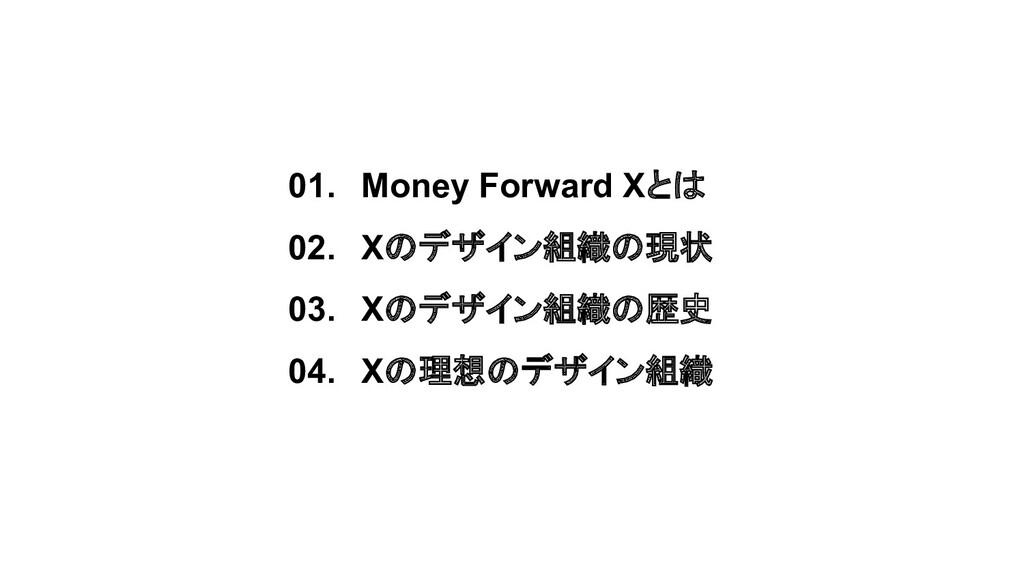 01. Money Forward Xとは 02. Xのデザイン組織の現状 03. Xのデザイ...