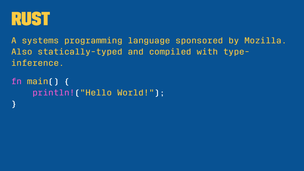 Rust A systems programming language sponsored b...