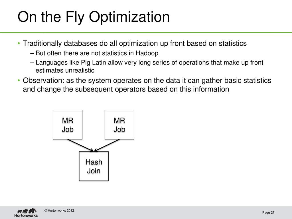 On the Fly Optimization Page 27 © Hortonworks 2...
