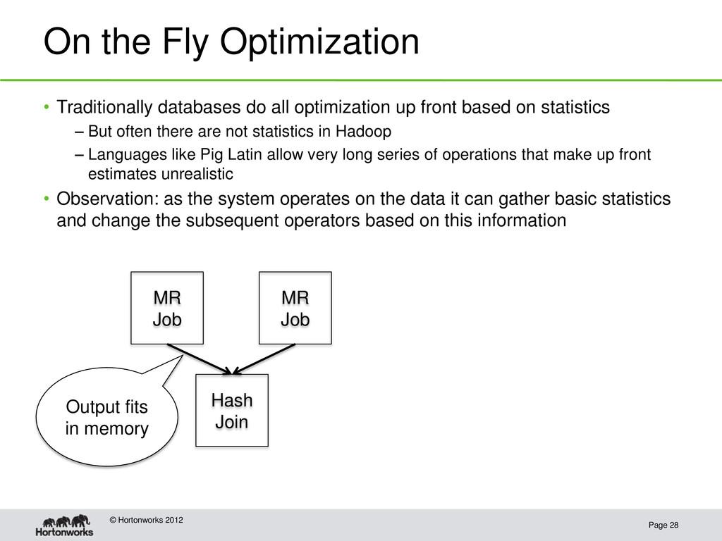 On the Fly Optimization Page 28 © Hortonworks 2...