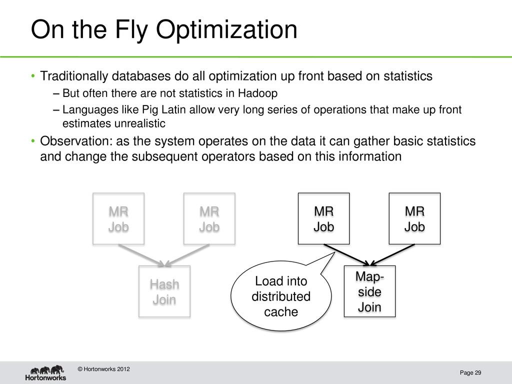 On the Fly Optimization Page 29 © Hortonworks 2...
