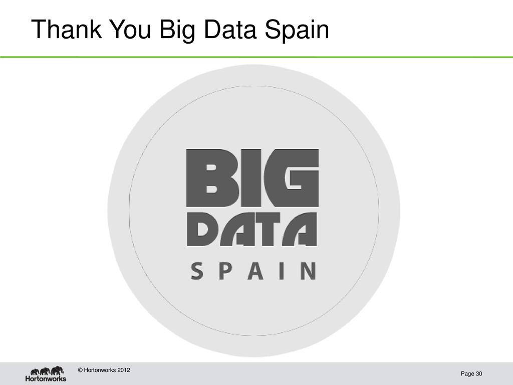 Thank You Big Data Spain Page 30 © Hortonworks ...