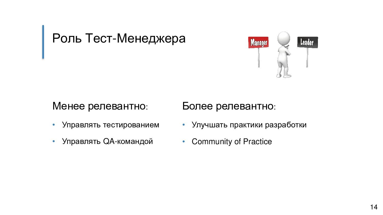 Роль Тест-Менеджера Менее релевантно: • Управля...