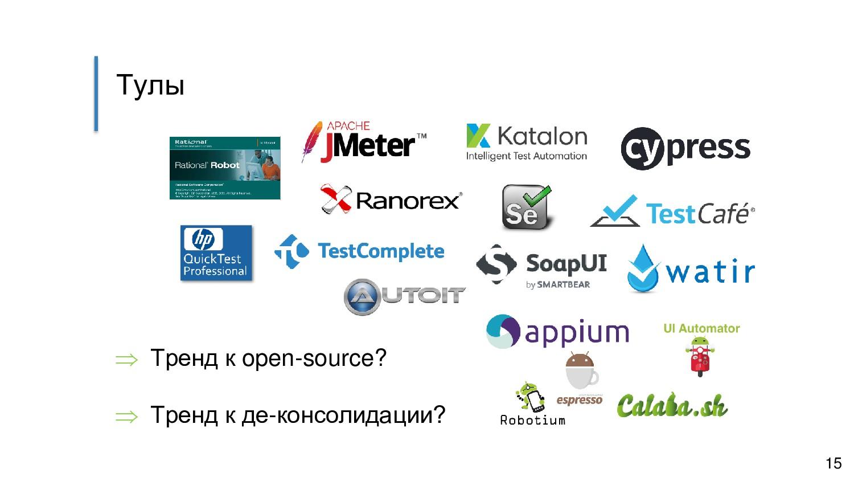 Тулы  Тренд к open-source?  Тренд к де-консол...