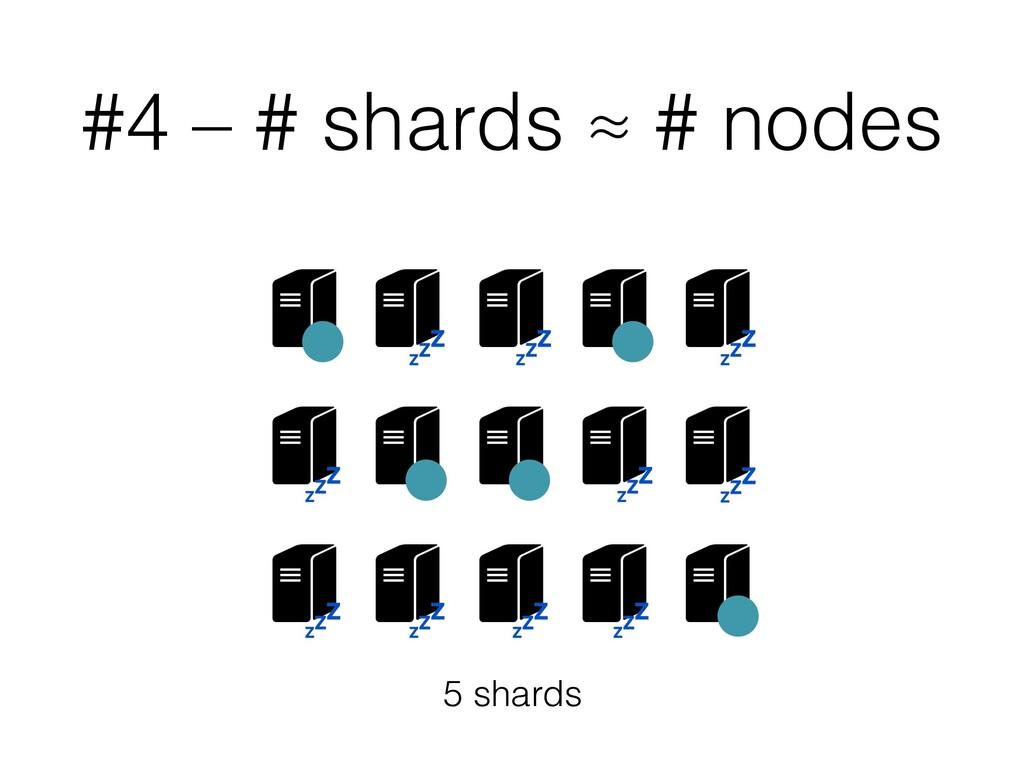 #4 – # shards ≈ # nodes 5 shards