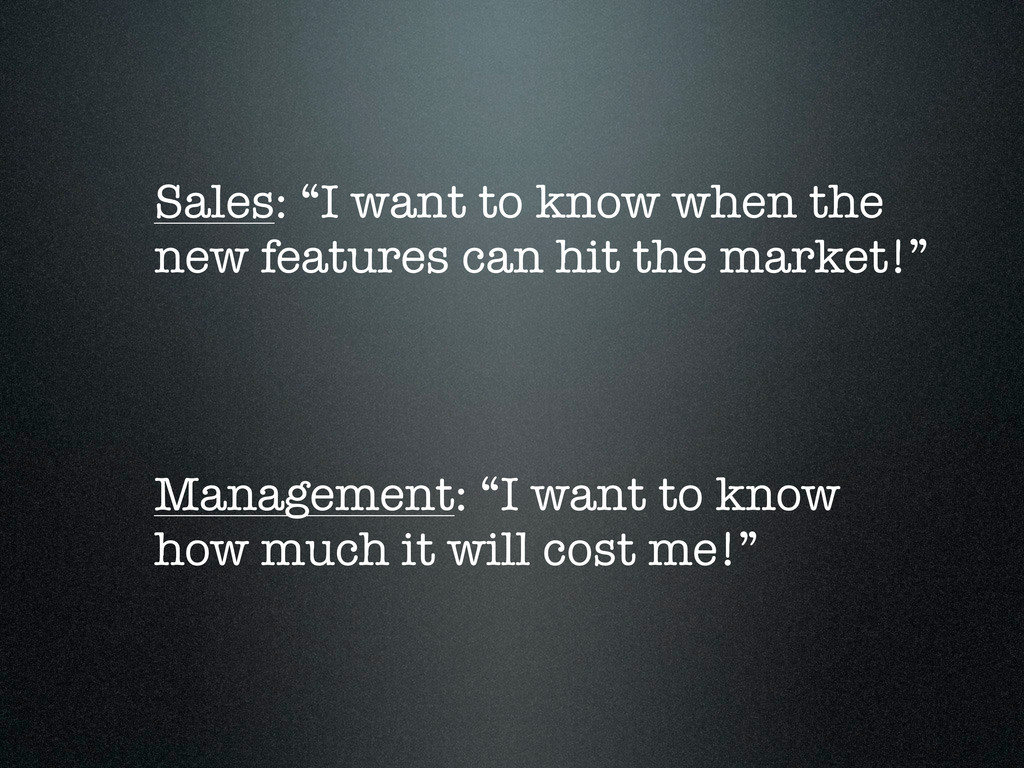 """Sales: """"I want to know when the new features ca..."""