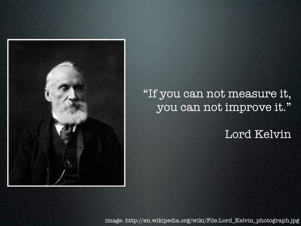 """""""If you can not measure it, you can not improve..."""