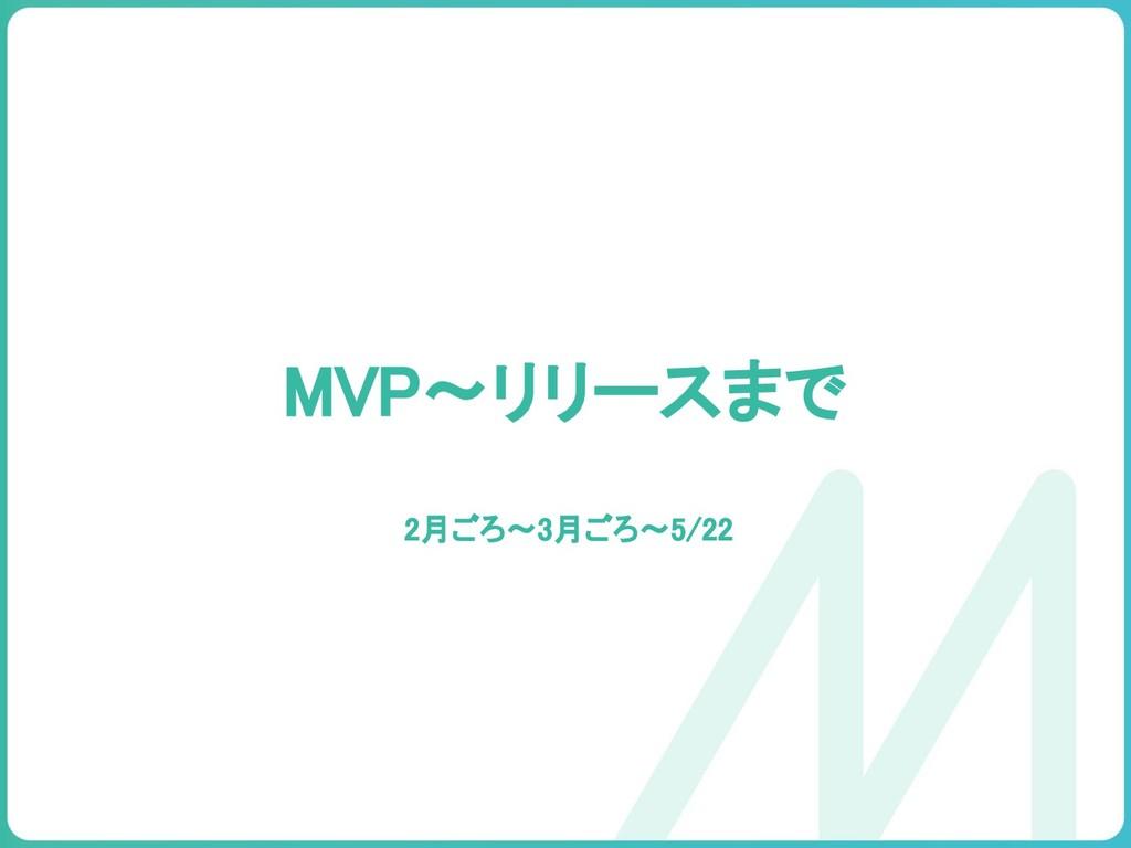 MVP〜リリースまで 2月ごろ〜3月ごろ〜5/22