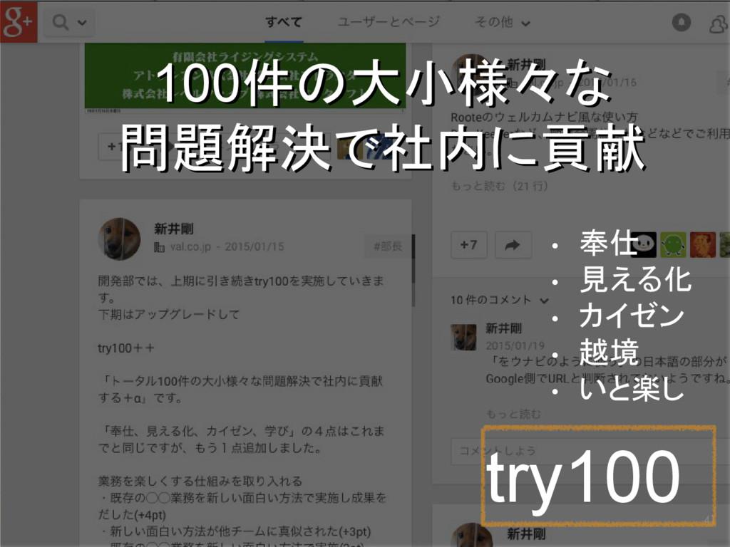 41 try100 100件の大小様々な 問題解決で社内に貢献 100件の大小様々な 問題解決...