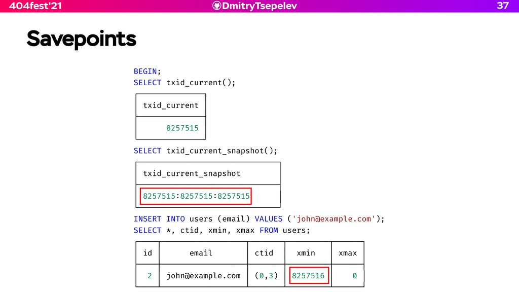 DmitryTsepelev 404fest'21 Savepoints 37 BEGIN; ...