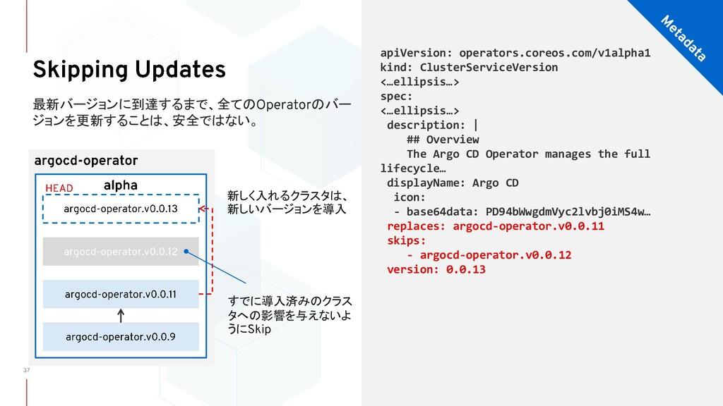 新しく入れるクラスタは、 新しいバージョンを導入 最新バージョンに到達するまで、全ての のバー...