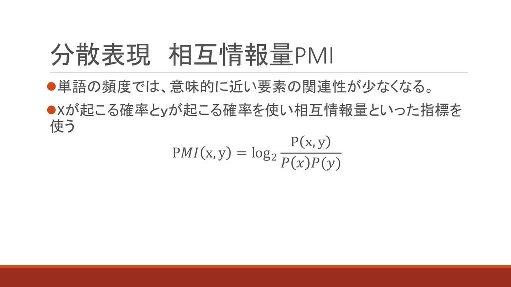 分散表現 相互情報量PMI ⚫単語の頻度では、意味的に近い要素の関連性が少なくなる。 ⚫Xが起...